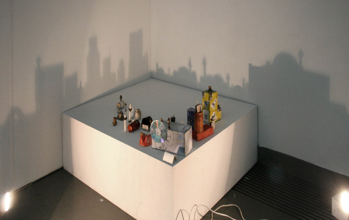 Two Cities, 2000, Packaging material, CD,  matches, Light source, Dimensions variable